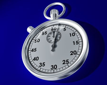 timed: Illustration of a stopwatch on a blue background