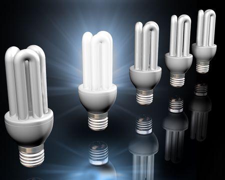 realization: Illustration of a bright idea amongst energy saving light bulbs Stock Photo