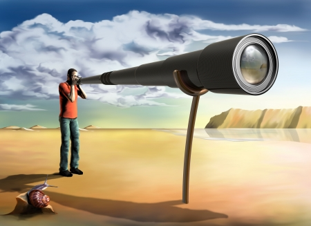 a mirage: Surreal illustration of a photographer using an unfeasibly long lens
