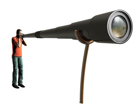 onlooker: Isolated illustration of a photographer using a very long lens Stock Photo