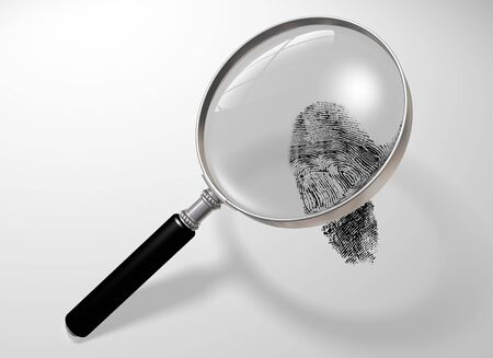 perpetrator: Illustration of a magnifying glass hovering over a fingerprint Stock Photo
