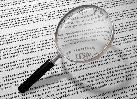 Illustratie van een vergroot glas lezen van de kleine lettertjes van een document