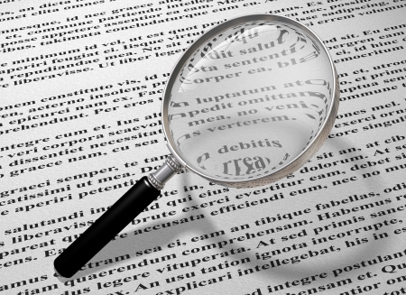 Illustration of a magnifying glass reading the small print of a document Stock Photo