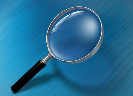 identify: Illustration of a magnifying glass over a blue background