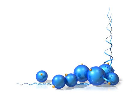 Illustration of a Christmas motif using blue baubles and streamers illustration