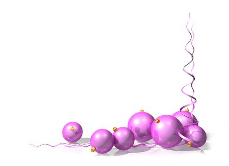 christmas motif: Illustration of a Christmas motif using pink baubles and streamers