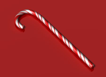 candy cane background: Illustration of a red and white striped candy cane on a red background
