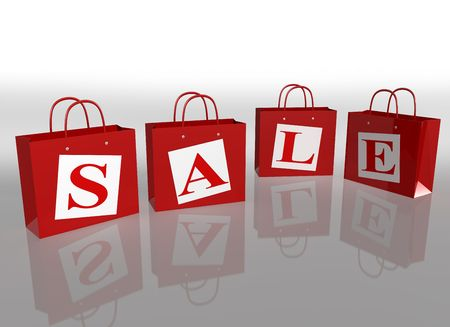 carrier bag: Illustration of four shopping bags in a sale