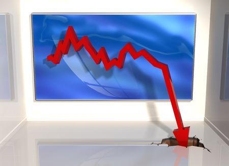 stock predictions: Illustrazione di un grafico in cui le cifre improvvisamente caduta attraverso la parola Archivio Fotografico