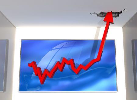 stock predictions: Illustrazione di un grafico in cui i dati passano attraverso il tetto Archivio Fotografico