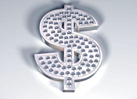 tacky: Illustration of a diamond studded dollar symbol