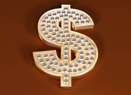 Illustration of a diamond studded dollar symbol