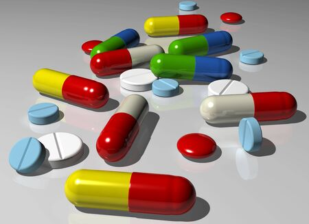 Illustration of various colorful capsules and pills illustration