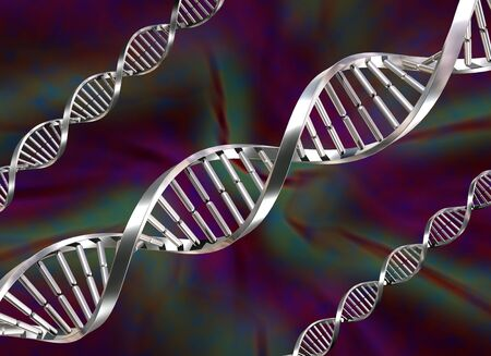 Illustration of three double helix DNA strands