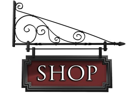 metalwork: Illustration of an isolated antique style shop sign Stock Photo