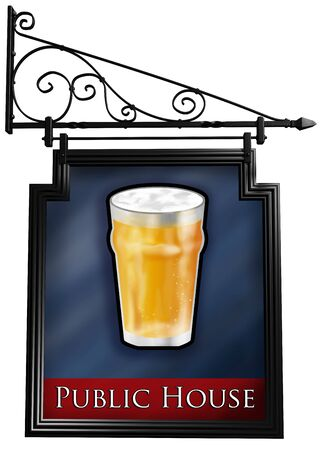 Illustration of an isolated antique style pub sign illustration