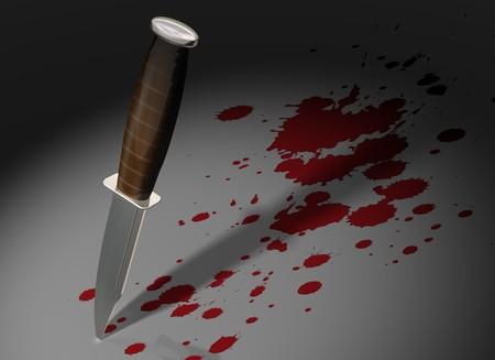 escena del crimen: Ilustraci�n de un cuchillo pegado en una escena de crimen