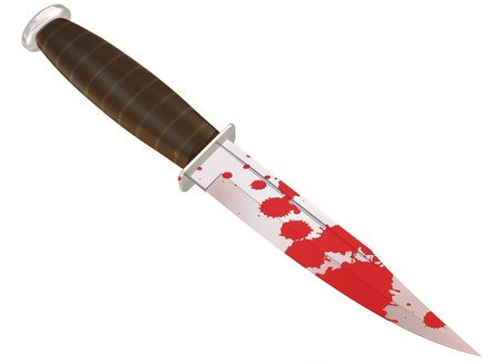 murder: Illustration of a blood splattered murder weapon