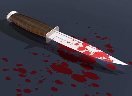 stab: Illustration of a blood splattered knife on the street Stock Photo