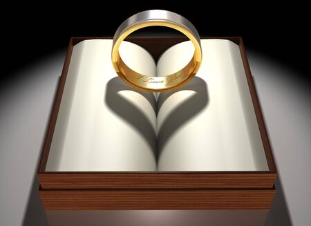 civil partnership: Illustration of a gold and platinum ring with a heart-shaped shadow Stock Photo