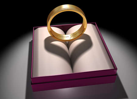 civil partnership: Illustration of a gold ring with a heart-shaped shadow