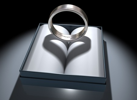 civil partnership: Illustration of a platinum ring with a heart-shaped shadow Stock Photo