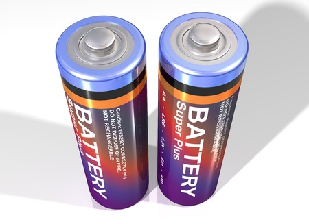 volts: Illustration of two batteries standing upright together