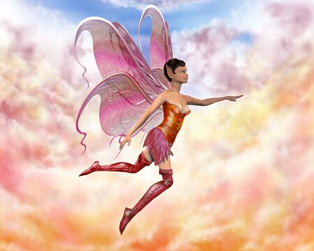 fairy story: Illustration of a fairy flying through the pastel clouds Stock Photo