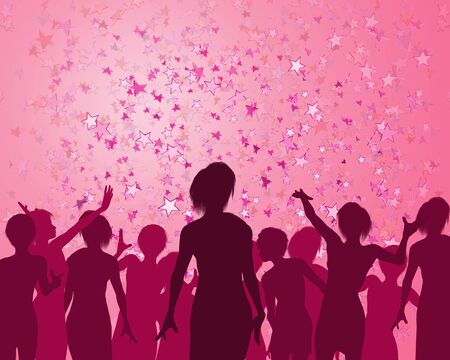 event party: Illustration of a girls enjoying a fabulous party Stock Photo