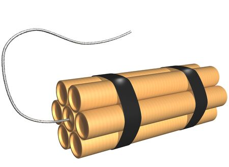 strapped: Isolated illustration of seven sticks of dynamite strapped together with a fuse Stock Photo