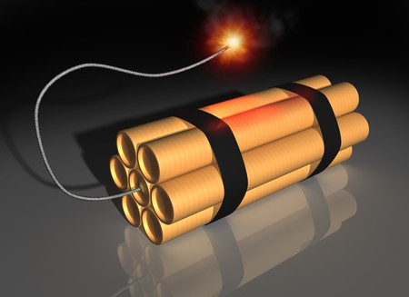 strapped: Illustration of seven sticks of dynamite strapped together with a lit fuse