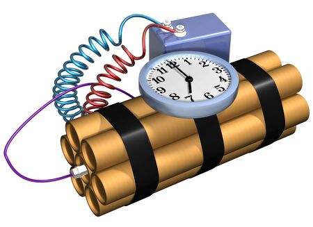 time bomb: Isolated illustration of a time bomb primed and ready for action