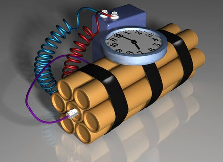 Illustration of a time bomb primed and ready for action Stock Illustration - 4124570