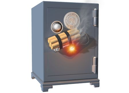 heist: Isolated illustration of a safe being broken into using dynamite