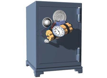 heist: Isolated illustration of a safe being broken into using a time bomb