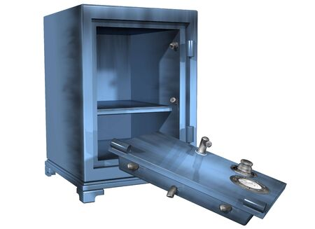 heist: Isolated illustration of a safe that has been broken into