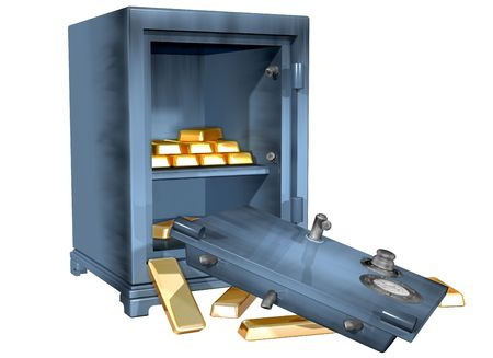 vulnerable: Isolated illustration of a safe that has been broken into containing gold bullion Stock Photo