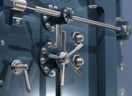 Illustratie van een veilige bank kluis van dichtbij
