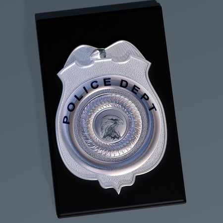 enquiry: Detailed illustration of a police shield on a leather wallet