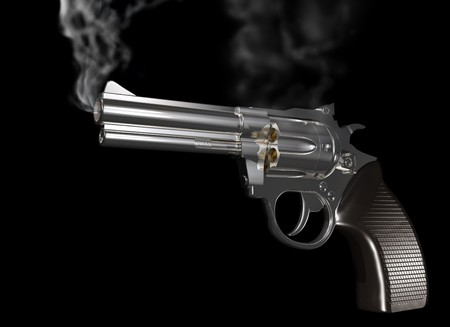 Illustration of a gun that has just been fired and is smoking