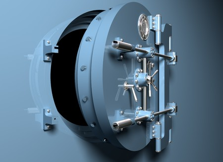 vault: Illustration of a round bank vault door ajar Stock Photo