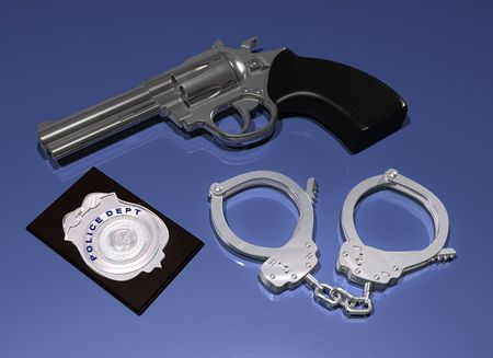 gun control: Illustration of a police gun, badge and pair of handcuffs on a blue background