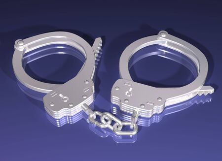 Illustration of a pair of silver handcuffs on a blue background Stock Photo