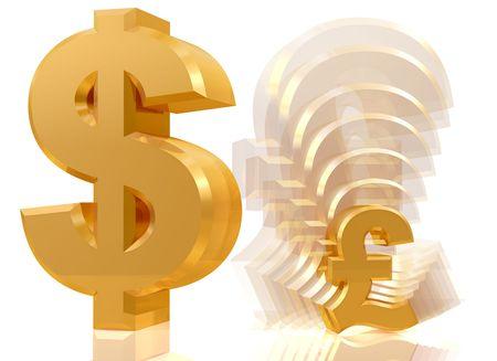 Illustration of a shrinking pound sign next to a dollar symbol illustration