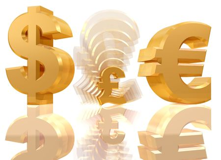 Illustration of a shrinking pound sign in between a dollar and a euro symbol illustration