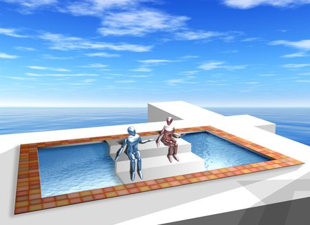 Original illustration of impossible geometric shapes in the form of steps over a pool Stock Photo