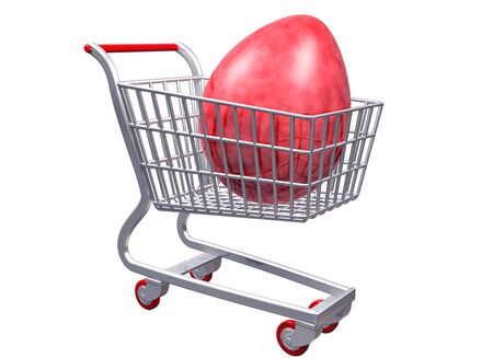 giant easter egg: Isolated illustration of a stylized shopping cart containing a giant egg