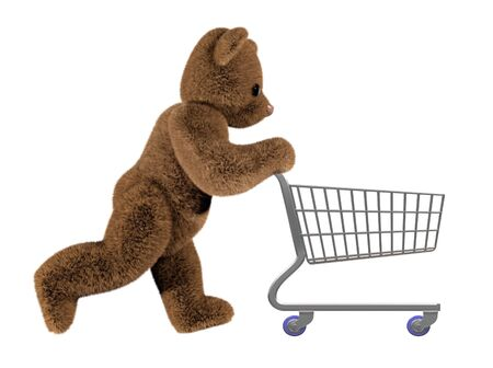 toy bear: Isolated illustration of teddy pushing a shopping cart Stock Photo