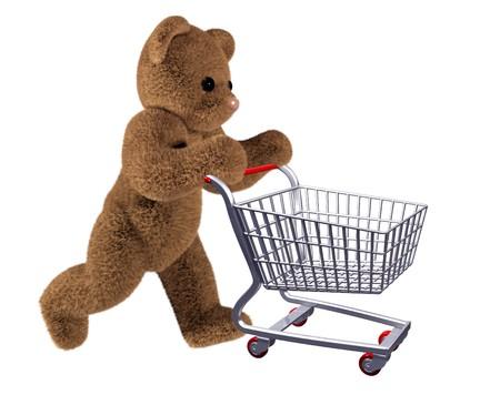 castors: Isolated illustration of teddy pushing a shopping cart Stock Photo