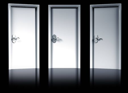 representing: Illustration of three doorways representing a decision to be made